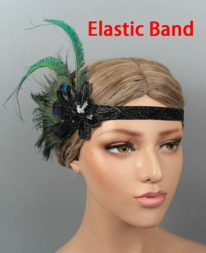 20s Peacock Gatsby Headpiece Flapper 1920s Costume Headband Feather Gangster