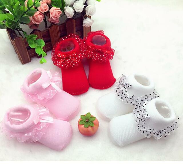 0-6 Months Cute Lace Baby Girls Toddles Newborn Anti-slip Warm Socks Shoes Boots