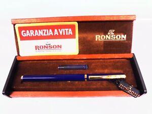 Penna-stilografica-RONSON-lacca-blu-anni-70-80-Nuova-Fountain-pen-Stylo