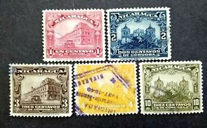 Nicaragua-1937-New-Color-Government-Building-In-Managua-amp-Leon-Cathedral-5v-Used