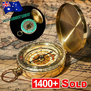 Portable Classic Brass Survival Camping Compass Outdoor Hiking Pocket Watch Map/