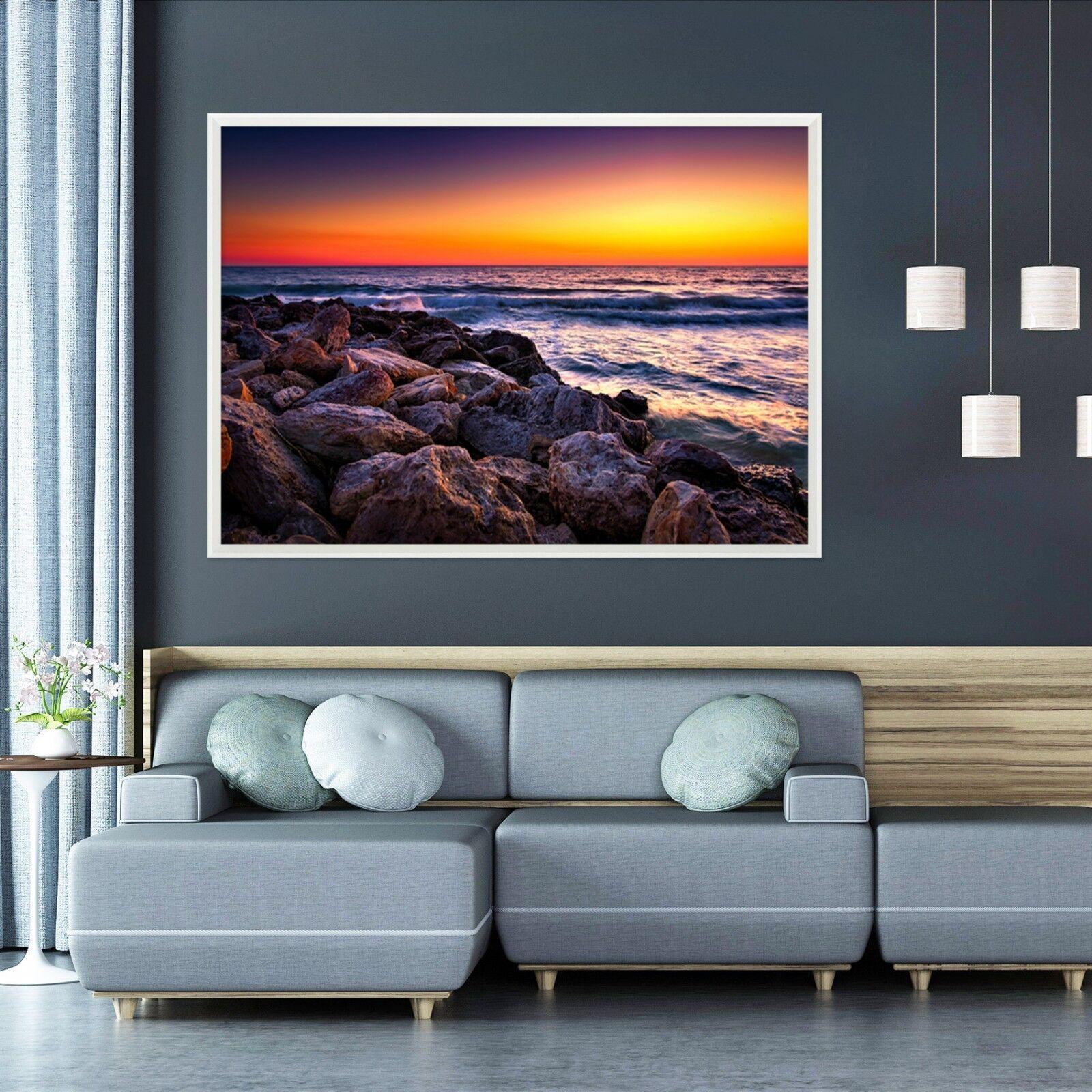 3D Dämmerung Stein Ozean 2  Gerahmt Poster Daheim Dekor Drucken Malerei Kunst AJ