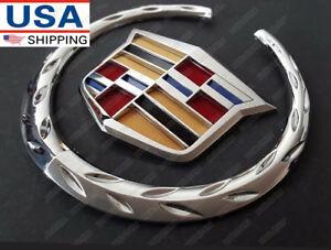 "4/"" Silver 3D Cadillac Rear Tailgate Emblem Trunk Lid Badge Sticker for XTS 07-14"