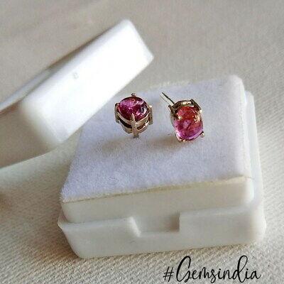 OVAL TOURMALINE STUD \u2013 elegant and minimalist silver stud earring with natural tourmaline gemstones pink silver gem stud