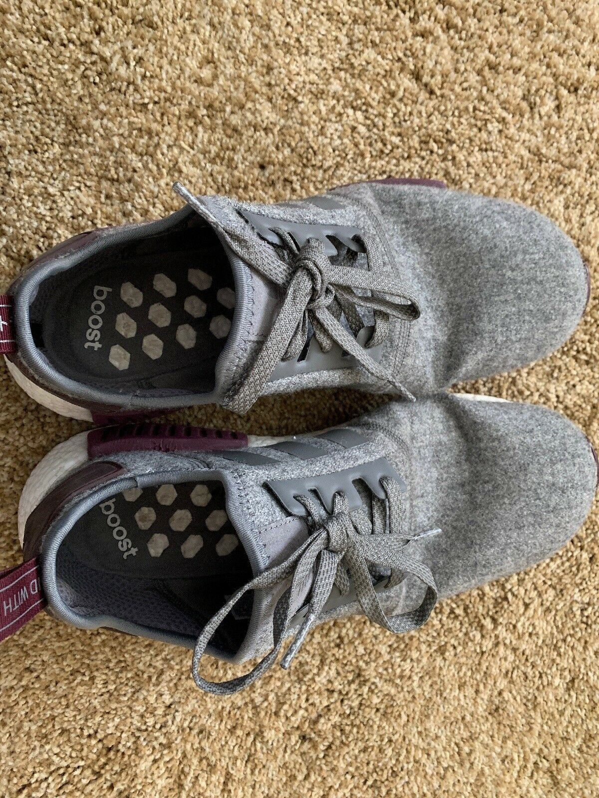 Adidas NMD_R1 Boost Wool Grey Maroon White CQ0761 Champs Exclusive -Size 11