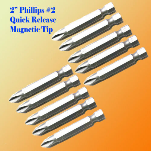 "25 2/"" Phillips #2 Screw Driver Bit Quick Release 1//4 Hex Shank Magnetic Tip PH2"