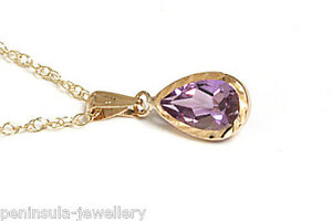 9ct-Gold-Amethyst-Teardrop-Pendant-and-Chain-Gift-Boxed-Necklace-Made-in-UK