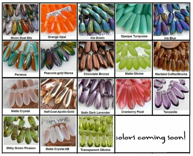 10x3mm Small Dagger Czech Glass Beads 50 - Choose Your Color