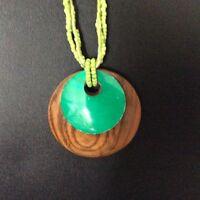 Green Brown Wood Disc Pendant Lemon Green Three-String Seeded Bead Necklace UK