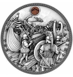THE-BATTLE-OF-SALAMIS-SEA-BATTLES-2019-2-oz-High-Relief-Pure-Silver-Coin-NIUE