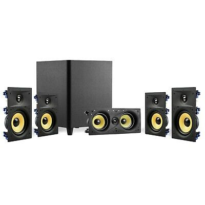 """TDX 8-Inch Down Firing Powered Subwoofer Home Theater Surround Sound Black 8/"""""""