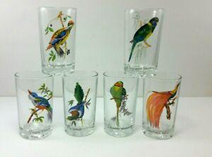 Pasari Six Piece Glass Tumbler Set Exotic Birds Indonesia Vintage