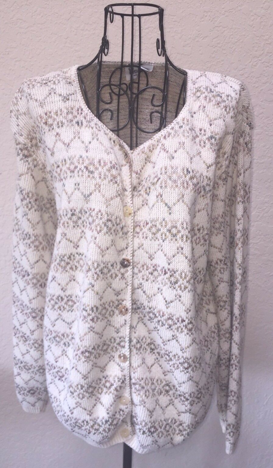 Reba pink Sweater Women's  Ivory Green bluee Button Front Size Large