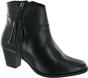 Comfort-Plus-EVIAN-Ladies-Womens-Real-Leather-Block-Heeled-Ankle-Boots-Black