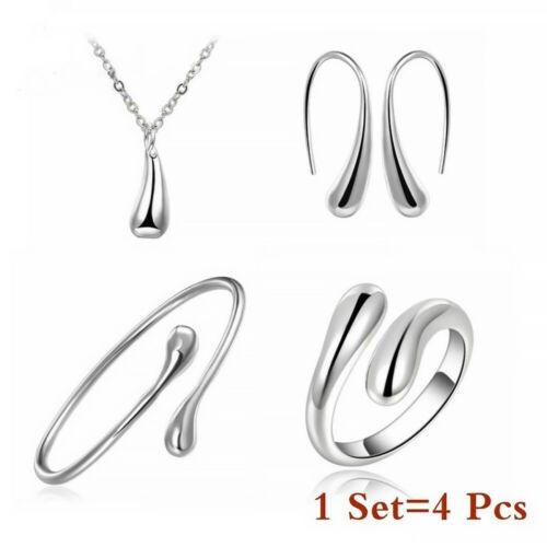 Women 925 Sterling Silver Gemstone Necklace Pendant Rings Earrings Jewelry Sets