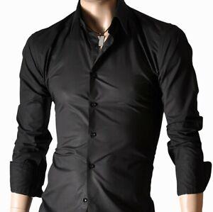 Da-Uomo-Nera-Manica-Lunga-Camicie-casual-Formale-Slim-Fit-Camicia-100-cotone-S-M-L-XL
