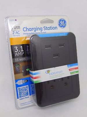 14505 LOT OF 2!! 2 AC Outlets Charging Station 3.1 Amp 15 Watt GE 3 USB