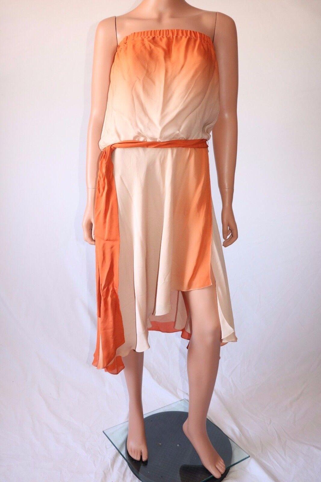 Haute Hippie Beige Naranja Sin Tirantes Envoltura Cóctel Vestido  Con Cinturón  mejor moda