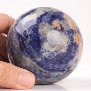 529g 73mm Large Natural Blue Sodalite Quartz Crystal Sphere Healing Ball Chakra