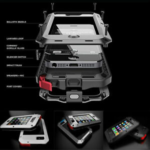 For-iPhone-4s-5s-SE-Rugged-Aluminum-Metal-Hybrid-Glass-Shockproof-Case-Cover