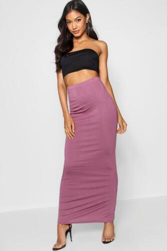 Womens Plain Jersey Bodycon Tube Long Maxi Skirts Ladies Midi Pencil Skirt 6-14