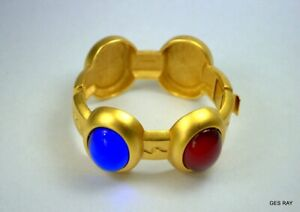 73ff12f11f3 MONET For YSL GRIPOIX Style Cabochon Satin Gold Bracelet Cuff | eBay
