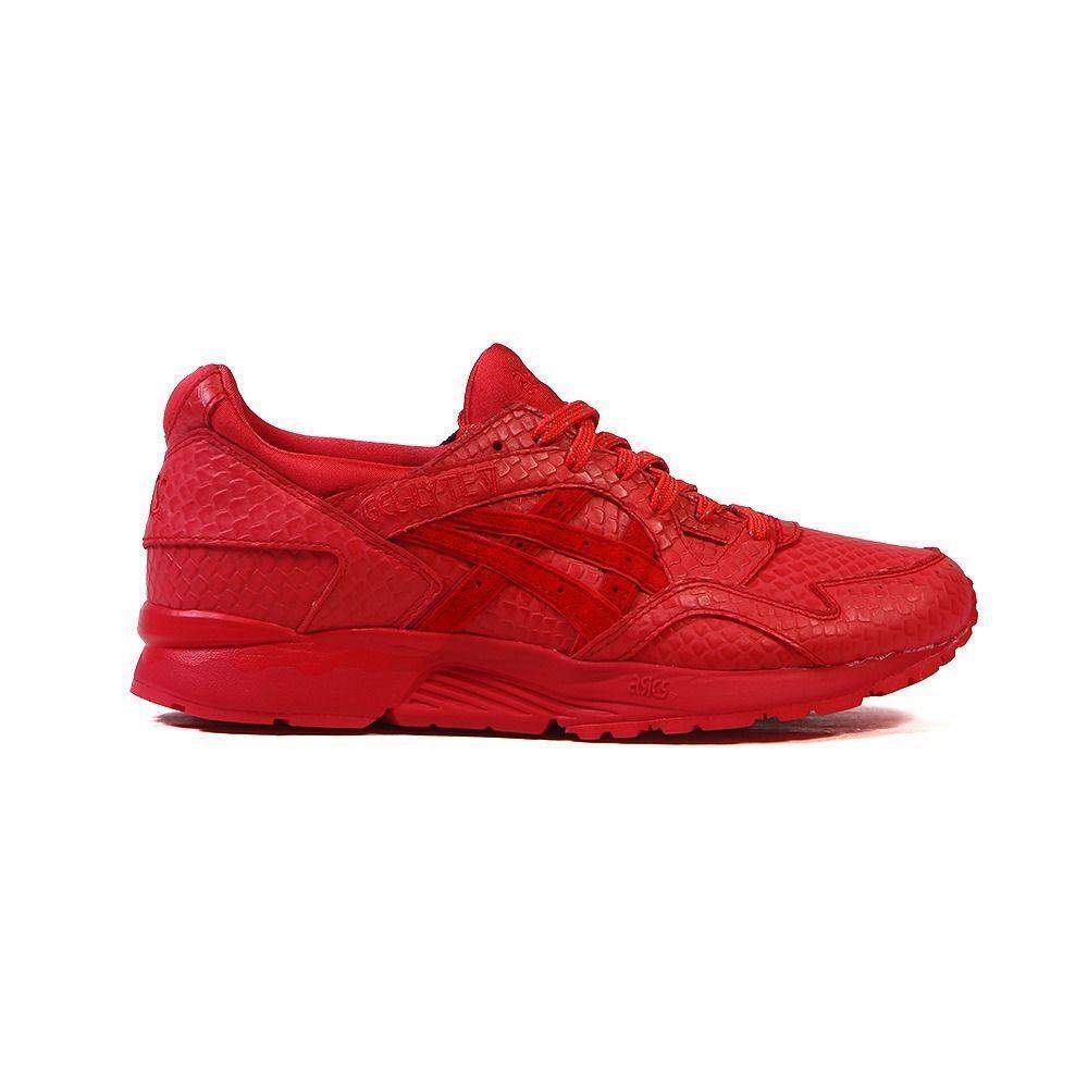 Mens Leather ASICS GEL-LYTE V Red Leather Mens Textile Trainers H51EK 2727 881f7a