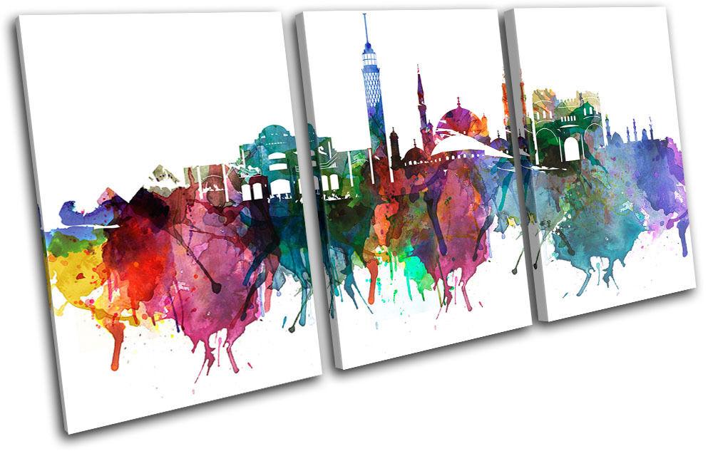 Cairo Watercolour  Abstract  City TREBLE Leinwand Wand Kunst Bild drucken