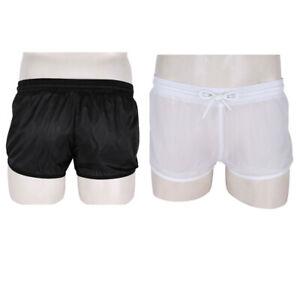 Mens-Shorts-See-Through-pants-Drawstring-short-trousers-Gym-Running-Loose-Trunks