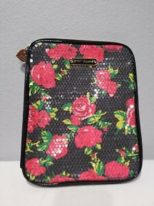 Betsy-Johnson-Tech-holder-Sleeve-Case-Sequined-Flower-print-Zip-around
