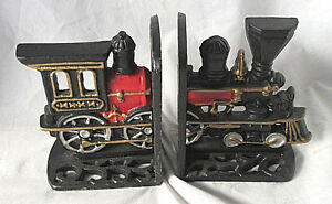 Image Is Loading Vintage Cast Iron Train Bookends Front And Back