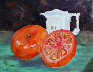 Still-Life-original-Acrylic-painting-on-with-Tomato-Slice-Antique-amp-Oil-Pitcher