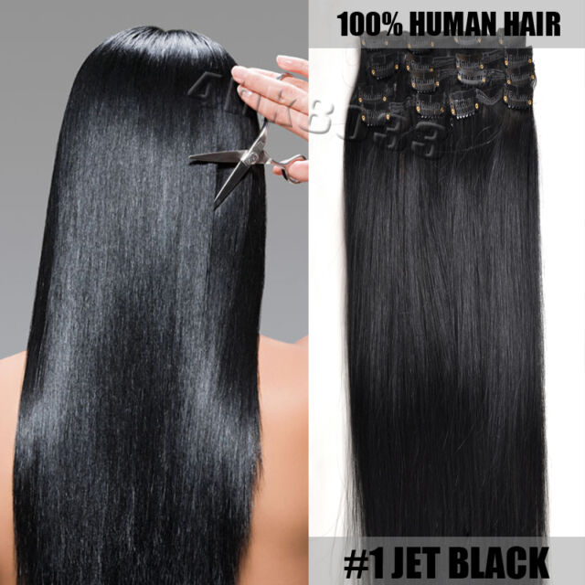 7Pcs Full Head #1 Jet Black Clip in Remy Real Human Hair Extensions 14''/36cm