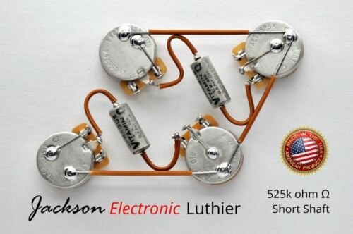 PIO Vitamin Q .02 Les Paul Wiring Harness Custom by JEL 525k CTS SHORT Shaft
