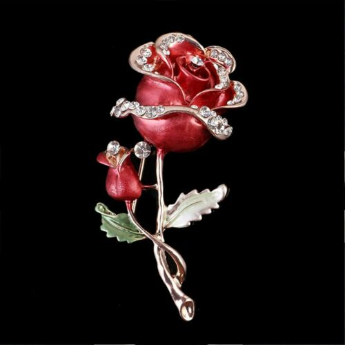 Luxe Strass Broche Femmes Bijoux Fleur Rose Broche Décoration Vêtement