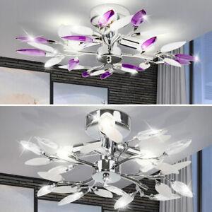 Details zu Wohnzimmer Deckenleuchte Design Lampe Esszimmer Decken Leuchte  Lila Weiß Blätter