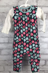 Tea Collection Long Sleeve Blue Pink Floral Romper White Sleeve 6-12 Months