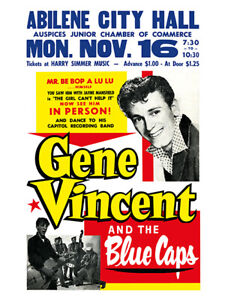 Fifties - Gene Vincent - Abilene City Hall Concert Poster reprint (1959)