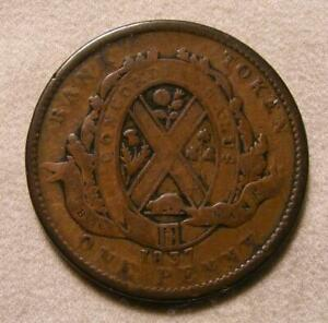 1837-Lower-Canada-Quebec-Bank-One-Penny-Two-Sou-Token-BR-521