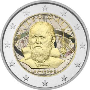 2-Euro-Gedenkmuenze-Italien-2014-coloriert-mit-Farbe-Farbmuenze-Galileo-Galilei