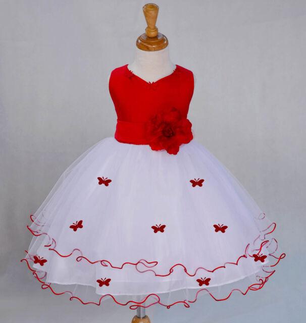 WHITE BUTTERFLIES PAGEANT WEDDING FLOWER GIRL DRESS 6M 12M 2 3T 4 5T 6 8 10