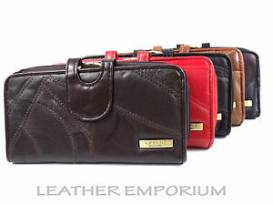 LADIES NEW HIGH QUALITY SOFT REAL PATCHWORK LEATHER PURSE WALLET CARD HOLDER