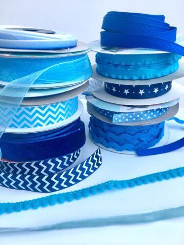 Assorted Blue Ribbon 10 X 1m Grosgrain Velvet Lace Satin Organza