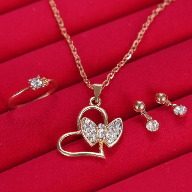 Gorgeous Wedding Bridal Jewelry Rhinestone Crystal Earring Necklace Ring Set