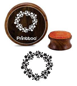 Printtoo-Runde-Blume-Kranz-Brown-Holz-Stempel-Karte-machen-Craft-R0G