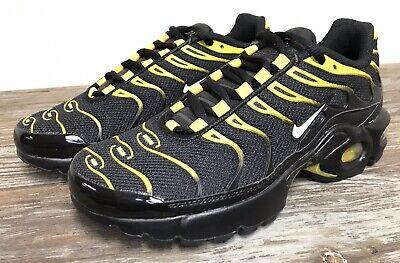 Nike Air Max Plus TN GS Black Yellow White Vivid Sulphur 655020 057 Size 4Y5.5W | eBay