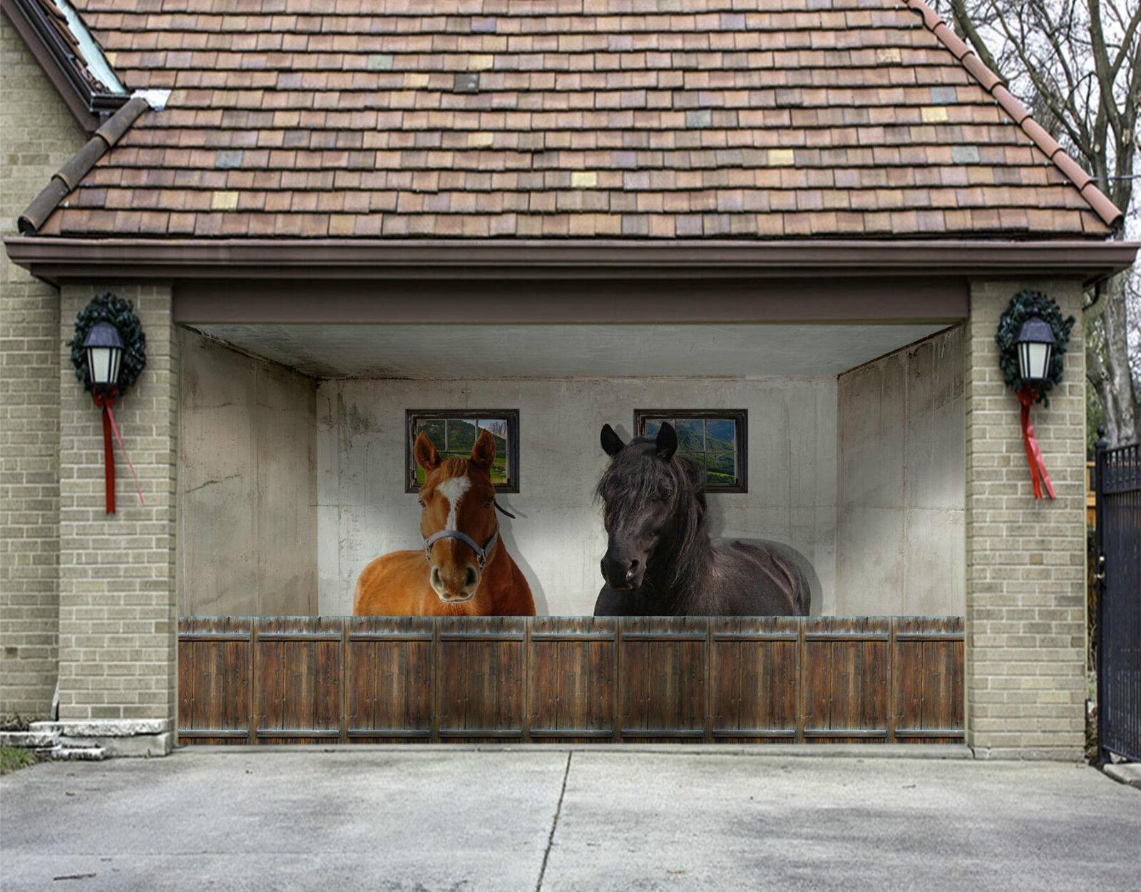 3D Pferd Haus 07 Garage Door Murals Wall Print Decal Wall Deco AJ WALLPAPER DE