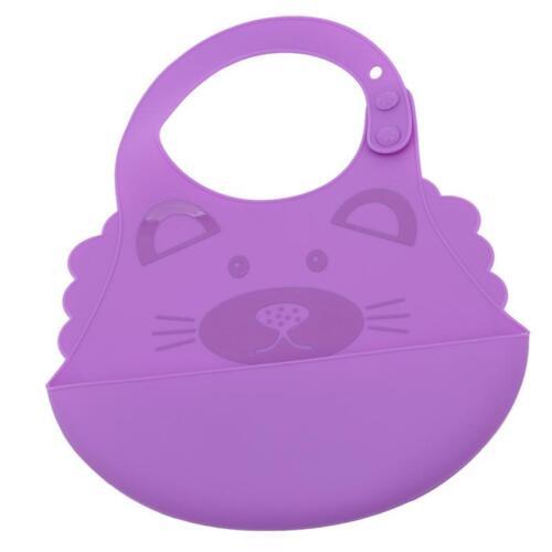 Waterproof Animals Pattern Baby Bib Easily Wipes Clean Silicone Feeding Bibs LC