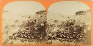 FRANCE-Marseille-Andoume-Port-Photo-Stereo-Vintage-Albumine-ca-1865