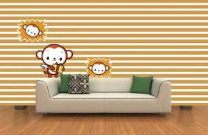 3D Striped Monkey 866 Wall Paper Murals Wall Print Wall Wallpaper Mural AU Kyra